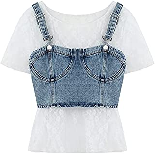 Wxcgbdx Womens T Shirts, Women's 2-Piece Blouse, Short-Sleeved Bottoming, Short Denim Camisole + Women's T-Shirt Set (Colo...