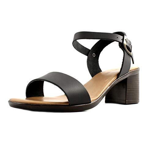 Soldini sandalen, dames, leer, zwart, met enkelriem, blokhak, 6 cm, gemaakt in Italië.