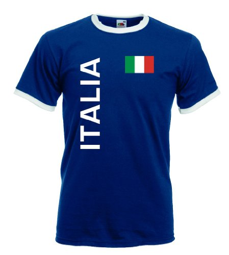 World-of-Shirt Italia/Italien Herren T-Shirt Retro Trikot|Navy L