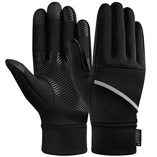 VBIGER Handschuhe Herren Damen Touchscreen Warme Thicken Winddicht Winterhandschuhe Anti-Rutsch für kaltes Wetter zum Laufen Handschuhe Radfahren Motorrad Sport(L, schwarz)
