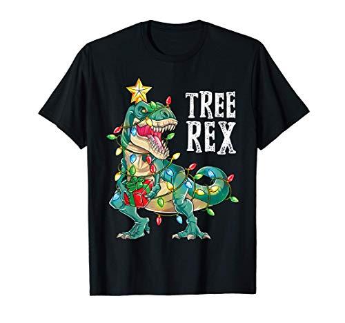 Christmas Dinosaur Tree Rex Pajamas Men Boys Kids Xmas Gifts T-Shirt