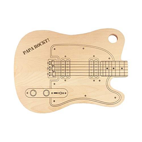 Casa Vivente Schneidebrett E-Gitarre mit Gravur, Motiv Papa rockt, Holzbrett mit Aufhängung, Geschenkidee zum Vatertag