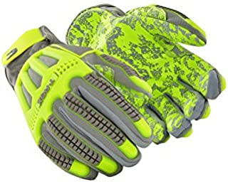 MAGID TRX746 Windstorm Series Impact Gloves | ANSI A6 Cut Resistant Hi-Viz Safety Work Gloves with Cool Mesh Venting, Grey/Yellow/Camo, Size 8/M (1 Pair)