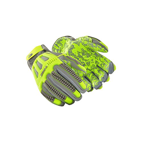 MAGID TRX746 Windstorm Series Impact Gloves | ANSI A6 Cut Resistant Hi-Viz Safety Work Gloves with Cool Mesh Venting, Grey/Yellow/Camo, Size 9/L (1 Pair)