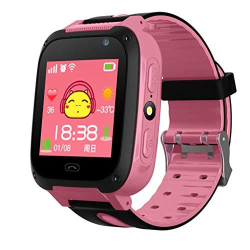 Niños Smartwatch - Bluetooth Localizador de posición GPS/LBS Reloj de Alarma SOS Infantil Relojes de Pulsera Cámara Digital Reloj móvil móvil Mejor Regalo para niños Compatible con iOS/Android (Rosa)