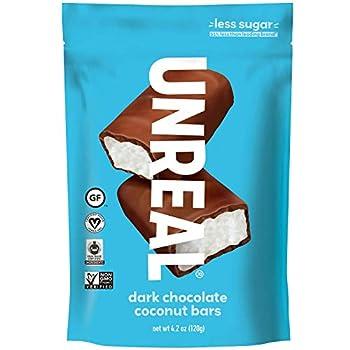 UNREAL Dark Chocolate Coconut Bars | 3g Sugar | Certified Vegan Gluten Free Fair Trade Non-GMO | 3 Bags