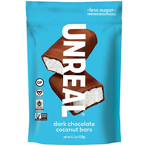 UNREAL Dark Chocolate Coconut Bars | Certified Vegan. Less Sugar, Gluten Free | 3 Bags