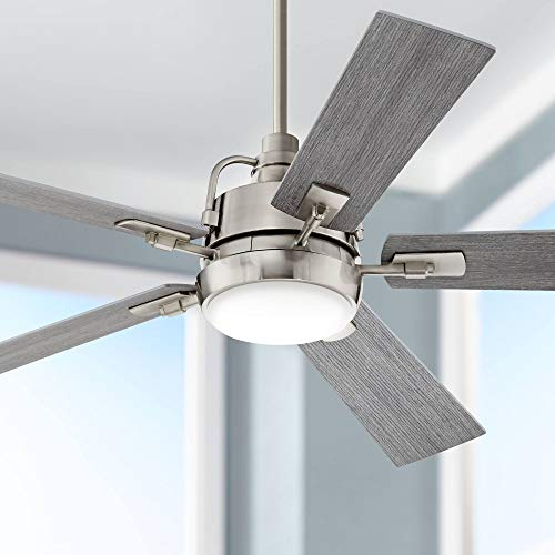 60' Lemans Modern Farmhouse Indoor Ceiling Fan with Light LED Dimmable Remote Control Brushed Nickel Gray Oak Opal Etched Glass for House Bedroom Living Room Home Kitchen Dining Office - Casa Vieja