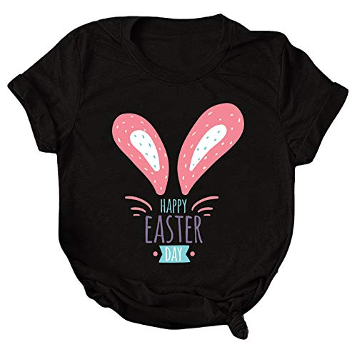 Women's Summer Blouse,Women's Casual Loose Round Neck Shorts Sleeve Letter Print Top Blouse T-shirt,For Easter Mothers Day Ladies Blouse Gifts(Black,XXL)