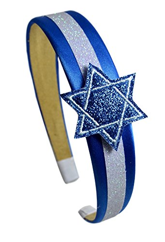 Funny Girl Designs Girls Hanukkah Glitter Blue Star of David Arch Headband (Royal Blue Satin with White Glitter)