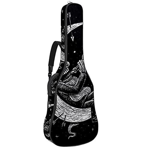 Esqueleto bebe alcohol en la luna, bolsa de transporte para guitarra, impermeable,...