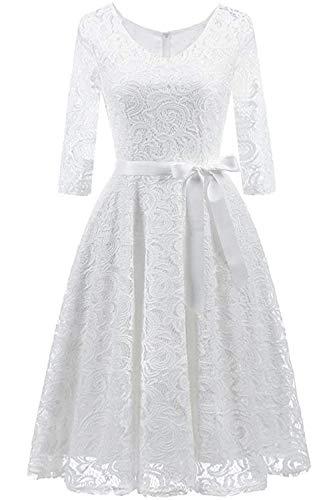 Misshow Robe de Bal Guinguette Mi Longue Manche Longue 3/4 Ajourée en Dentelle Swing Elégante Plissée avec Ceinture Blanc XL