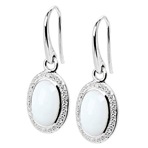 VIVENTY Damen Ohrringe Haken aus Silber 925 mit Zirkonia und Achat weiß