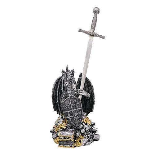 Amont Espada en Miniatura de Excálibur y dragón, Hecho de Resina, Color níquel, réplica no Oficial, Tamaño Total de Espada: 30 cm