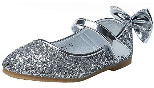 WUIWUIYU - Scarpe da ballerina con glitter, traspiranti e comode, da ragazza, con lustrini, (argento), 26 EU
