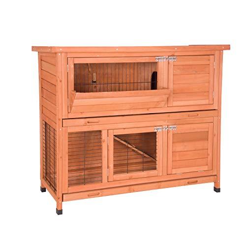EUGAD Conejera de Exterior Madera con Bandejas Casa Jaula para Conejos Cobayas Mascotas Jaula para Animales Pequeños 2 Niveles, 4 Puertas 120 x 100,5 x 50 cm, Rojo Brillante 0001TL