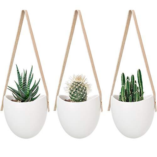 Mkono Ceramic Hanging Planter Succulent Wall Planter Set of...