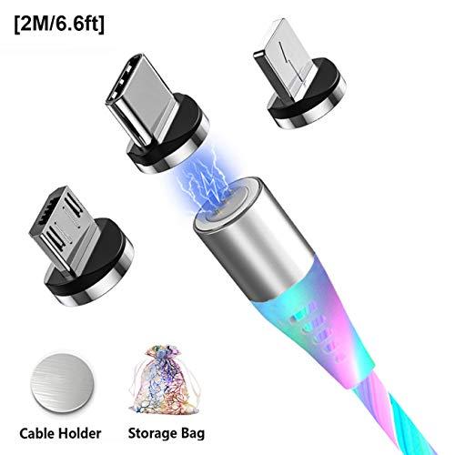 Magnetisches Ladekabel 3A USB C Magnet Schnellladekabel Micro USB Typ C Lighting Kabel mit Fließendem LED Licht Multi 3 in 1 Datenkabel für Samsung Series/Huawei/i-Products,Xiaomi/Sony und mehr