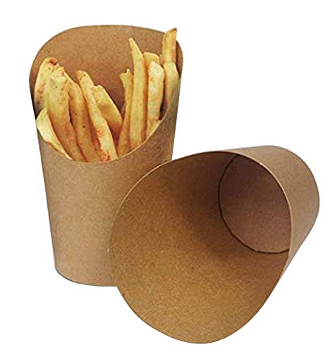 KINGZHUO 50 Pcs French Fries Holder 14oz Disposable Take-out Party Baking Waffle Paper Popcorn Boxes Sandwich Kraft Paper Cups Holder French Fry Paper Holder Wedding Food Trays Paper Cones (Brown)