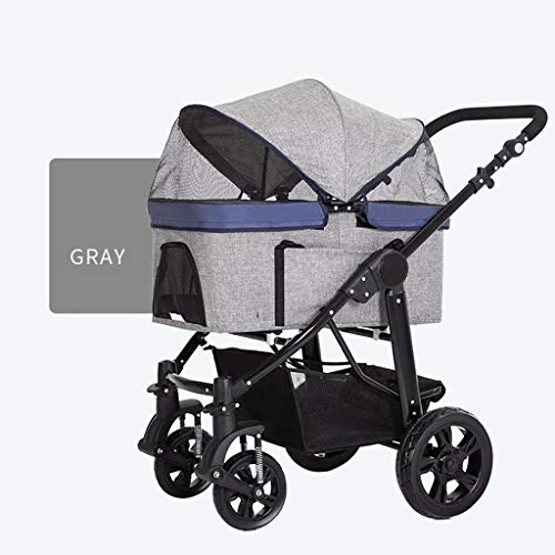 HNWNJ Haustierausstattung Medium und Large-Kinderwagen, High-End-Dog-Wagen, Vier-Rad-Pet Stroller Tasche, Pet Supplies, Licht Pet Trolley, Haustier-Katzen-Kinderwagen (Color : Gray)