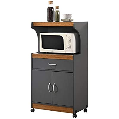 Pemberly Row Microwave Kitchen Cart in Gray Oak by Pemberly Row