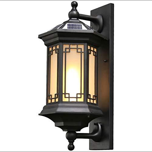 YS&VV Moderne led-wandlamp, op zonne-energie, waterdichte wandlamp, voor vilten, binnenplaatsen, tuinen, aluminium lampbehuizing + glazen lampenkap, energiebesparend