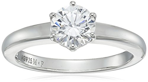 Platinum-Plated Sterling Silver Solitaire Ring set with Round Swarovski Zirconia (1 cttw), Size 6
