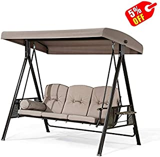 PURPLE LEAF 3-Seat Deluxe Outdoor Patio Porch Swing with Weather Resistant Steel Frame, Adjustable Tilt Canopy, Cushions and Pillow Included, Beige