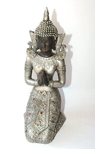 P.Shop Thai Buddha kniend Deko Figur Feng Shui H: ca. 27 cm Polyresin
