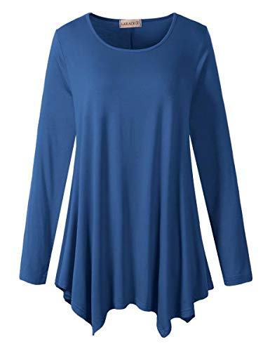 LARACE Womens Long Sleeve Flattering Comfy Tunic Loose Fit Flowy Top (L, Steel Blue)