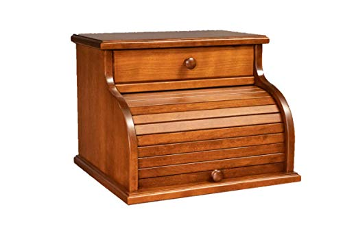 Amish Cherry Wood Roll Top Bread Box with Drawer for Kitchen Counter - Washington Cherry Red