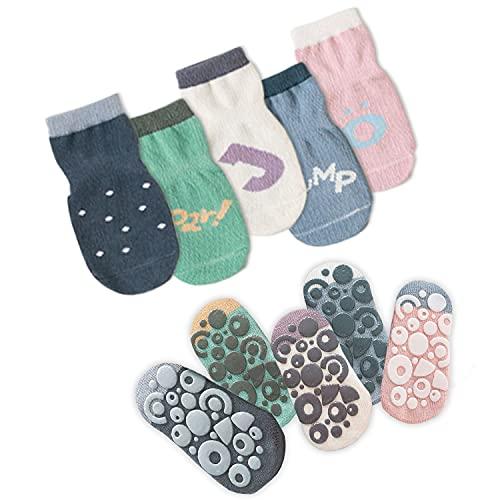 JFAN 5 Pcs Chaussettes Antidérapantes pour Fille Garçons Bébés Nouveau-nés et Enfants Chaussettes Dessin Animé Mignon