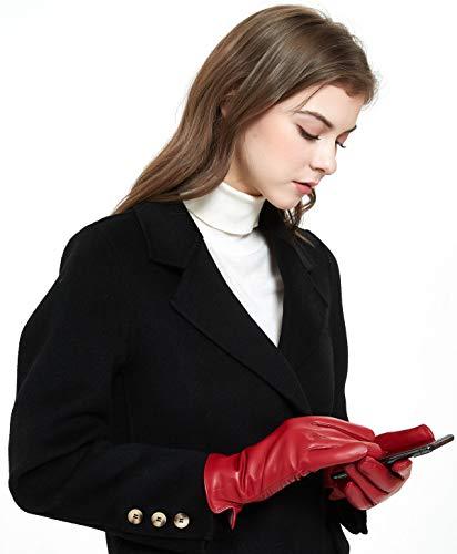 ZLUXURQ Guanti da guida invernali con touchscreen in vera pelle di agnello rosso morbida da donna foderati in cashmere