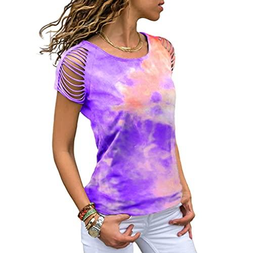 T-Shirt Mujer Personalidad Moda Verano Cuello Redondo Manga Corta Mujer Tops Chic Simpleza Tie Dye Impresión Sin Tirantes Design Daily Casual Comfortable All-Match Mujer Blusa D-Purple XXL