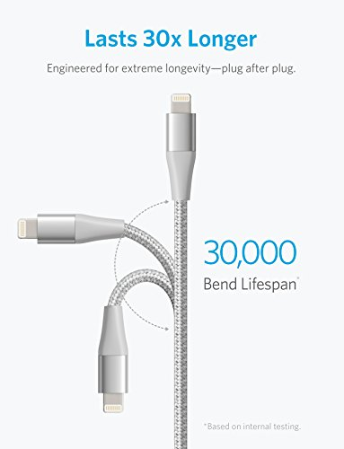 Anker Powerline+ II Lightning Kabel 0,9m iPhone Ladekabel Nylon, MFi Zertifiziert kompatibel mit dem iPhone XS/XS Max/XR/X / 8/8 Plus / 7/7 Plus/iPad und mehr (Silber)