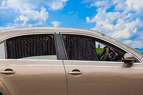 ZATOOTO 車 カーテン遮光 UVカットマグネット 日除け カーテン 車中泊 内蔵簡単装着 2枚入り ブラック CT77BK