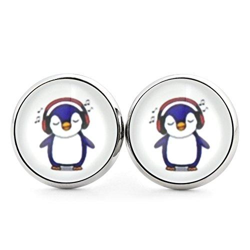 SCHMUCKZUCKER Damen Ohrstecker Motiv Kleiner Pinguin Modeschmuck Ohrringe silber-farben 2 Größen 14mm
