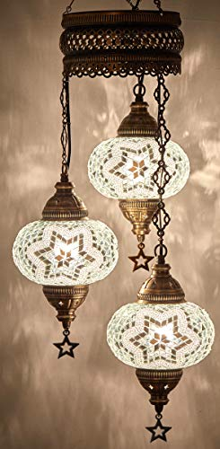 DEMMEX Turkish Moroccan Mosaic Hardwired OR Swag Plug in Chandelier Light Ceiling Hanging Lamp Pendant Fixture, 3 Big Globes (3 X 7' Globes Hard-Wired)