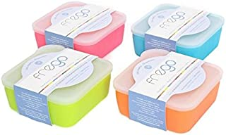 Frego Award-Winning Plastic-Free Glass and Silicone Food Container | 2 Cups | Variety Pack - Blue, Orange, Lime Green and Honeysuckle