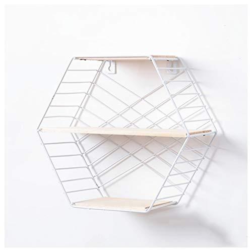 Étagère hexagonale créative en métal à double couche - Étagère de rangement multifonction à suspendre au mur (couleur : B)