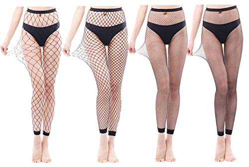 Yulaixuan para Mujer 4 Pares de Mallas de Rejilla Mallas de Malla Medias sin pie Pantimedias Leggings de Cintura Alta (4 Negro, Sin pies)