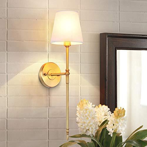 Nachtlampje voor slaapkamer, Amerikaanse landen met koperen wandlamp, bedlampje, slaapkamer, koplamp, spiegel, Europese minimalistische woonkamer, koperen kop