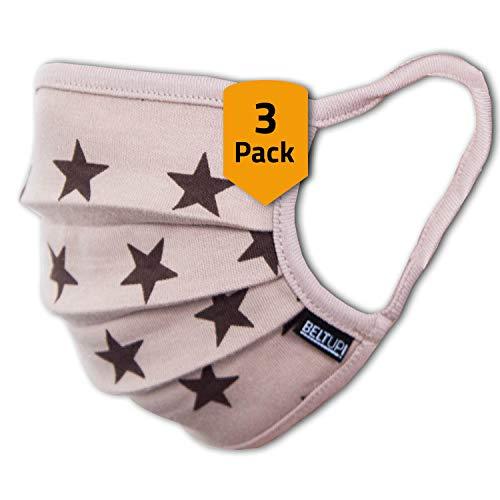 Facetex 3er-Pack Mundschutz Kinder Junge & Mädchen waschbar, braun mit Sternen | aus 100% Baumwolle, Oeko-TEX 100 Standard Earloop-Design | Wiederverwendbare Behelfs-Abdeckung für Mund Nase | Größe M