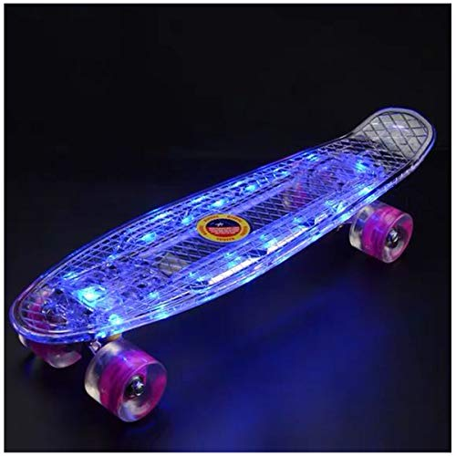22 Inch Skateboard- with Led Light Up Wheels for Beginners,Intelligent Electric Skateboard, Complete Mini Cruiser Retro Skateboard for Kid ,Smooth Riding ,Durable Polypropylene with Pu Wheels