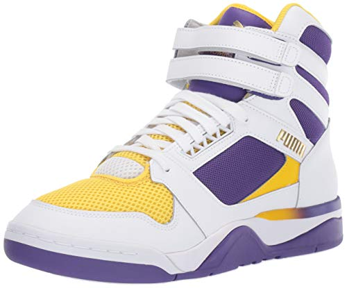 PUMA Palace Guard Mid Finals Mens White Leather/Mesh Basketball Shoes