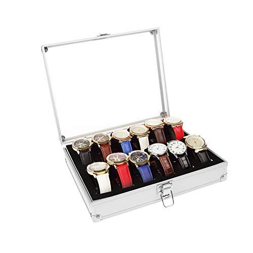 Uhrenbox, Hochwertige Acogedor Uhrenkasten Aluminium Aufbewahrungsbox für Uhren,6 Steckplätze, 12 Steckplätze (optional)(2)