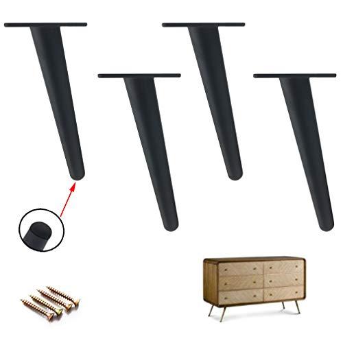 4er Set Möbelfüße,Schräg Konisch Sofafüße,Schrankfüße Metall Bettbeine Möbelfuß,Tragfähigkeit 800kg,Eisen,mit Schrauben (12cm/4.7in,black)