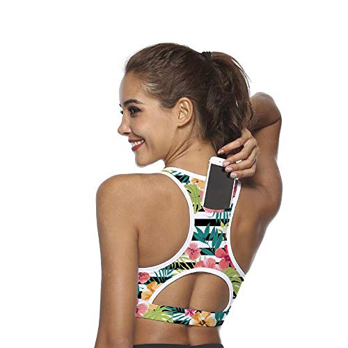 Ultrafun Women Running Sports Bra Back Pocket Padded Activewear Bra Tank Tops (Flower, Large)