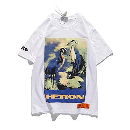 HP Blue Crane t Shirt Printing Tee Hombres Mujeres Hip-hop BF Styles Algodón Camiseta Manga Corta Blanco