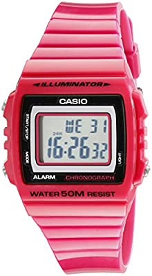 Casio Kids W215H-4A Classic Digital Stop Watch, Pink from Casio